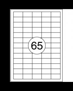 65 per vel A4 etiketten (38 x 21,2 mm) 5x13 labels 10x100 vel PRIJZEN ZIJN PER DOOS À 1000 VELLEN