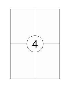 4 per vel A4 etiketten (105 mm x 148 mm) 2x2 labels 10x100 vel PRIJZEN ZIJN PER DOOS À 1000 VELLEN