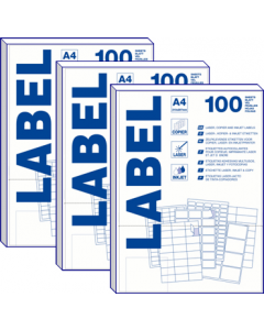 16 per vel A4 etiketten (105 mm x  37 mm) 2x8 labels 10x100 vel PRIJZEN ZIJN PER DOOS À 1000 VELLEN