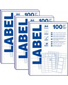 24 per vel A4 etiketten (70 mm x  37 mm) 3x8 labels 10x100 vel PRIJZEN ZIJN PER DOOS À 1000 VELLEN