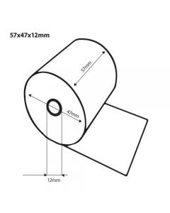 Thermische pinrol 57x47x12 25 meter op rol FSC (50 rollen)