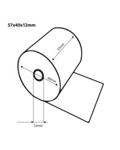 Thermische pinrol BPA vrij 57x40x12 19 meter op rol FSC (50 rollen)